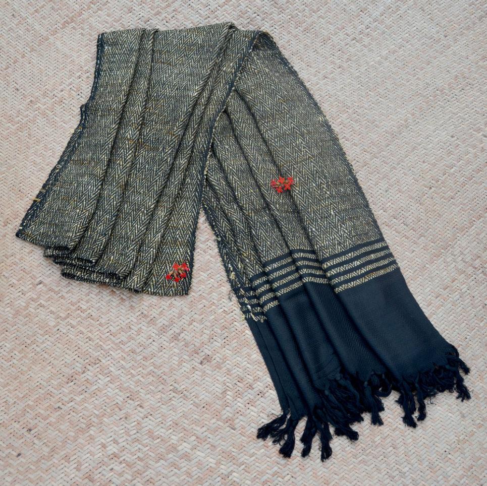 Black Natural Dyed Handwoven Silk Shawl