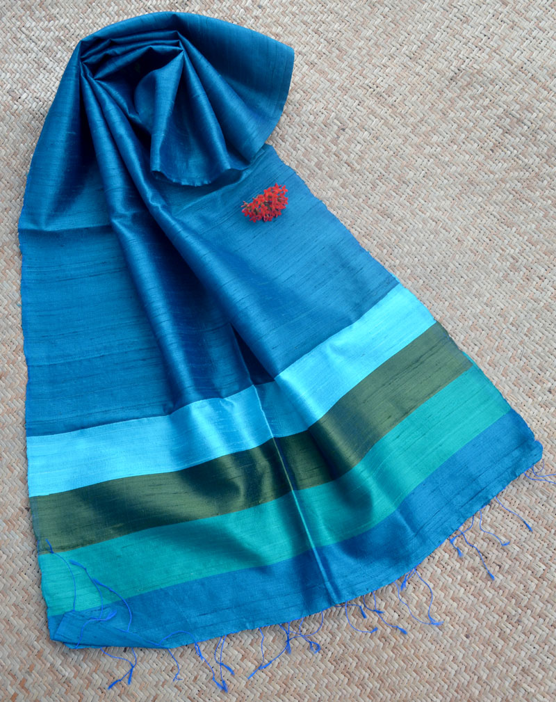 Elegant & Classic Raw Silk Stole – Blue with contrast stripes border
