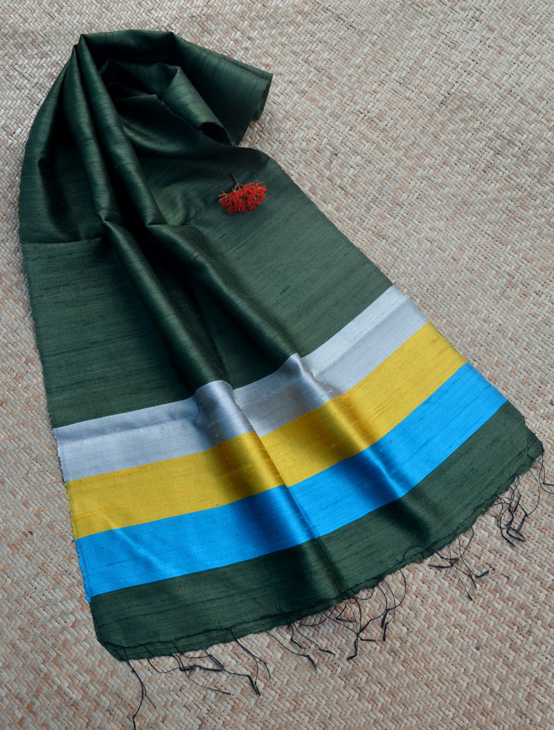 Elegant & Classic Raw Silk Stole – Bottle Green with contrast stripes border