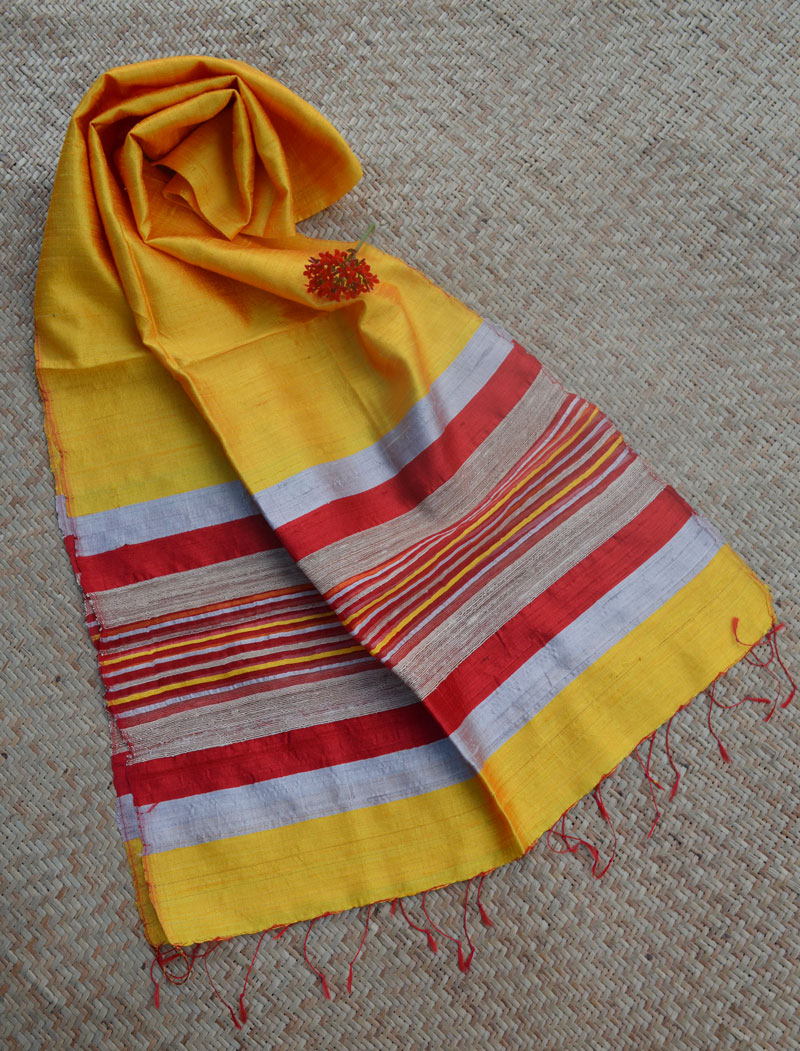Elegant & Classic Raw Silk StoleScarf – Bright Yellow with Red border
