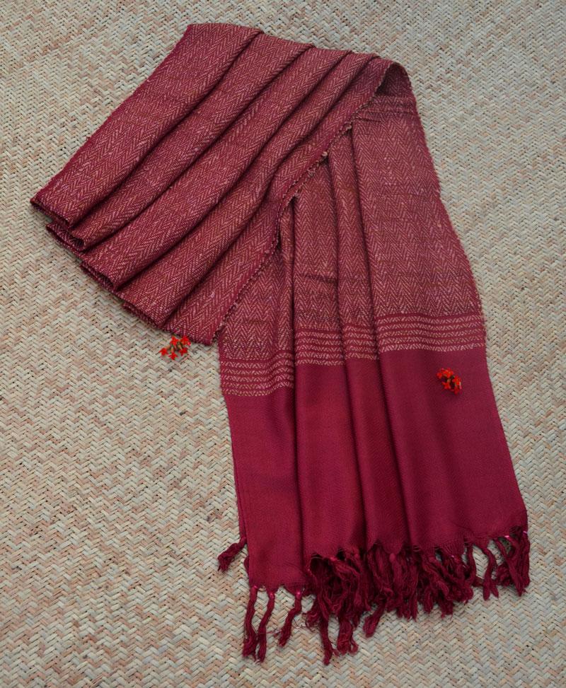 Maroon Natural Dyed Handwoven Silk Shawl